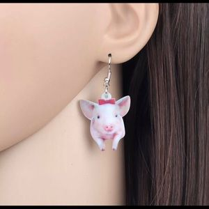 Pretty piggy acrylic dangle earrings